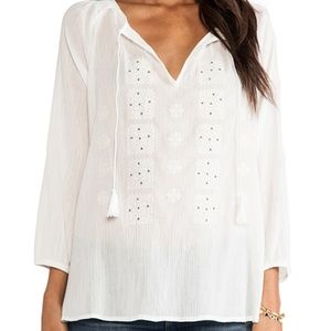 Joie Porcelain Milian Top Embroidered Peasant Top